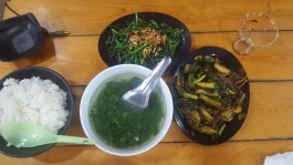 Mustard leaf soup. Morning Glory and Fish fried with fresh banana.