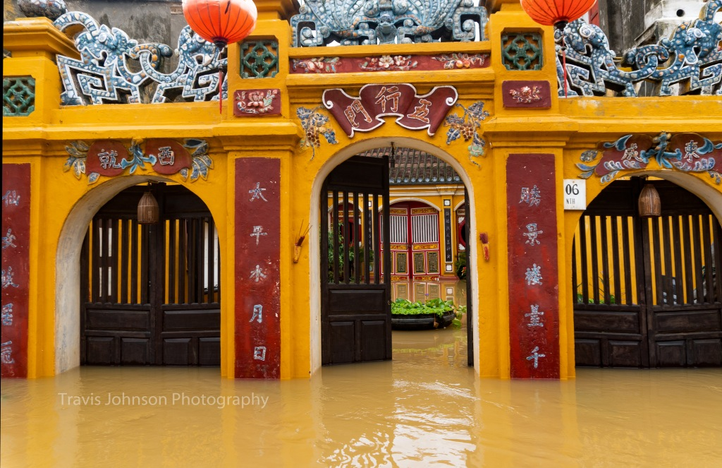 The flooded courtyard of a temple